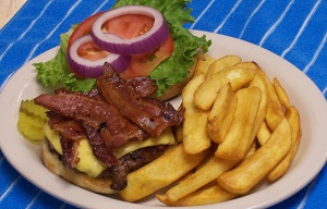 Filling Ranch Burger with Bacon. Served with a side of crisp steak fries.